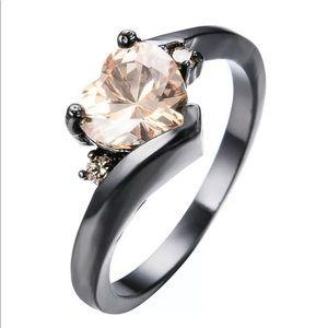 Jewelry - Heart Shaped Garnet Zircon Black Gold Filled Silve